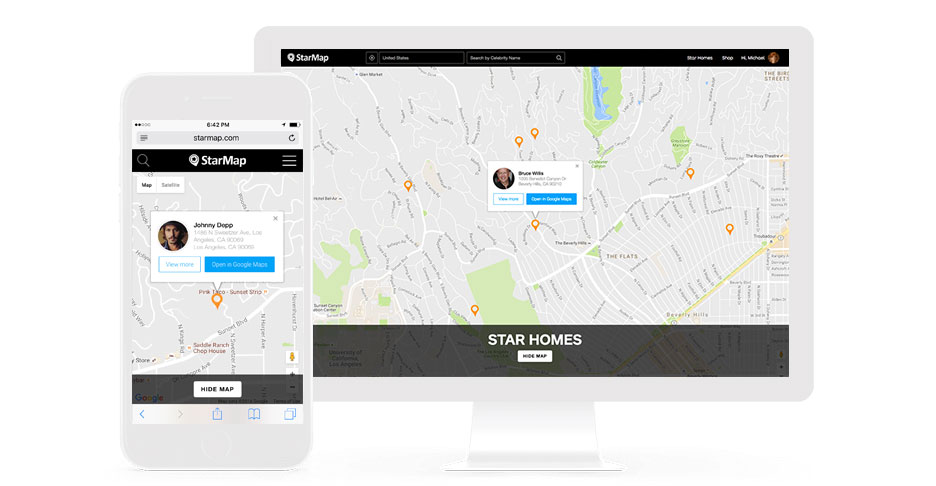 StarMap Celebrity Homes Map